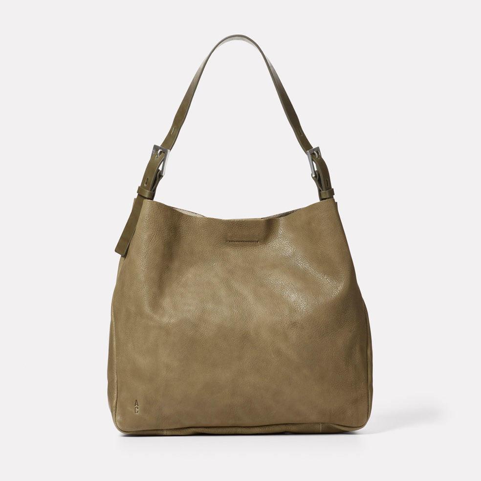 Cleve Calvert Leather Shoulder Bag in Moss