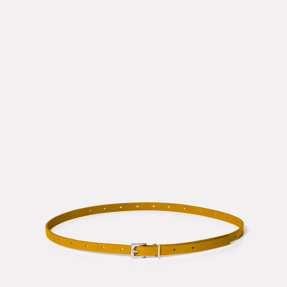 Etty Slim Leather Belt in Mustard