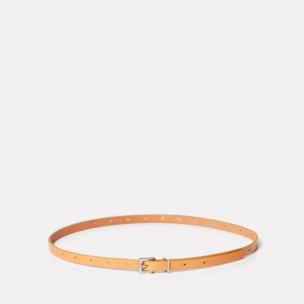 Etty Slim Leather Belt in Tan