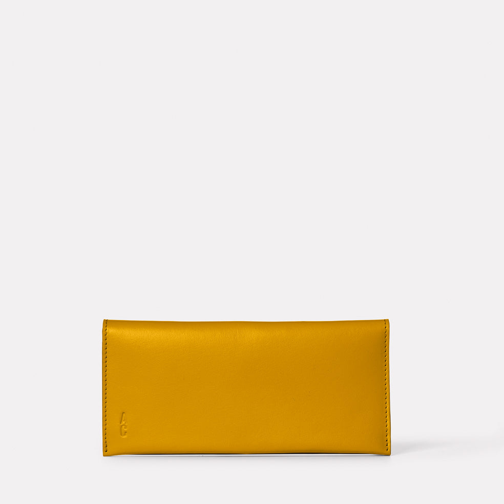Evie Long Leather Purse in Mustard