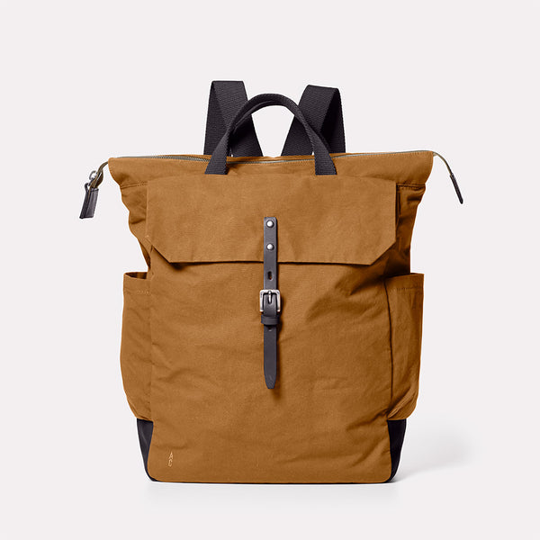 Fin Waxed Cotton Rucksack in Breen Front