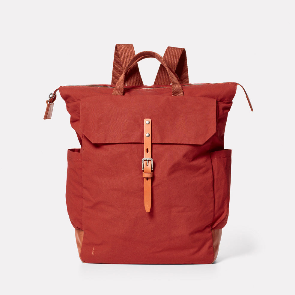 Fin Waxed Cotton Rucksack in Brick