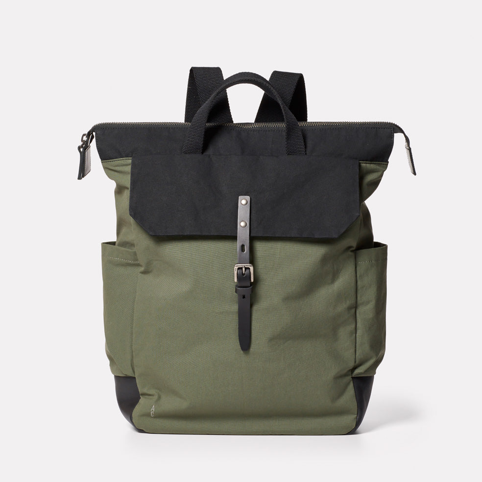 Fin Waxed Cotton Backpack in Black and Olive