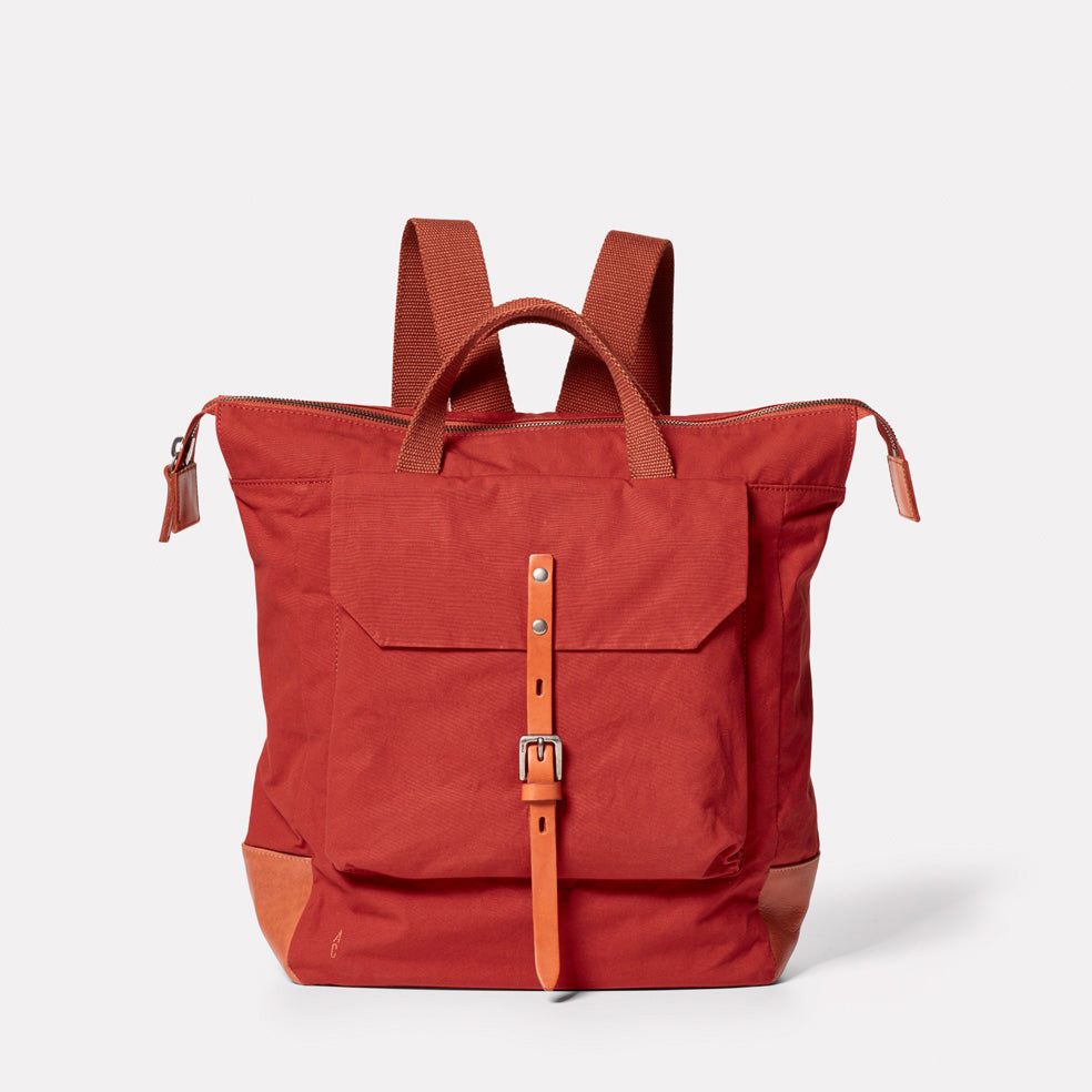 Frances Waxed Cotton Rucksack in Brick