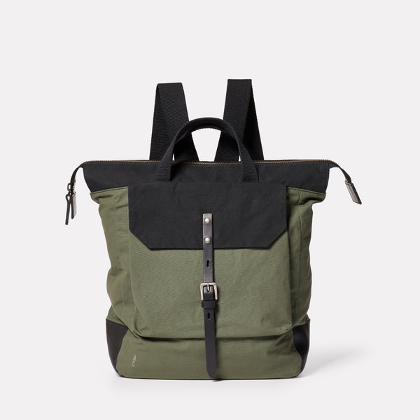 Frances Waxed Cotton Rucksack in Black and Olive