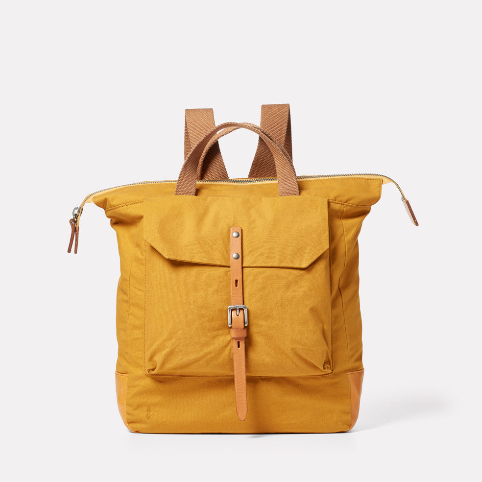 Frances Waxed Cotton Rucksack in Cumin
