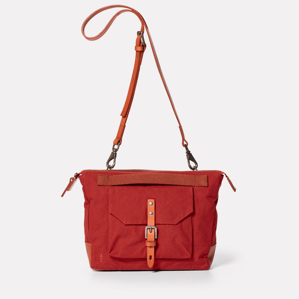 Francesca Waxed Cotton Crossbody Bag in Brick