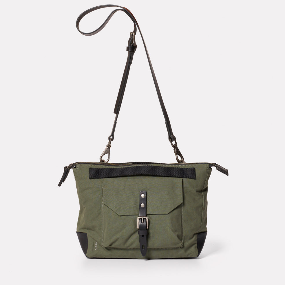 Francesca Waxed Cotton Crossbody Bag in Olive
