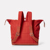 Frank Large Waxed Cotton Rucksack in Brick-RUCKSACK-Ally Capellino-brick red-British waxed cotton-red