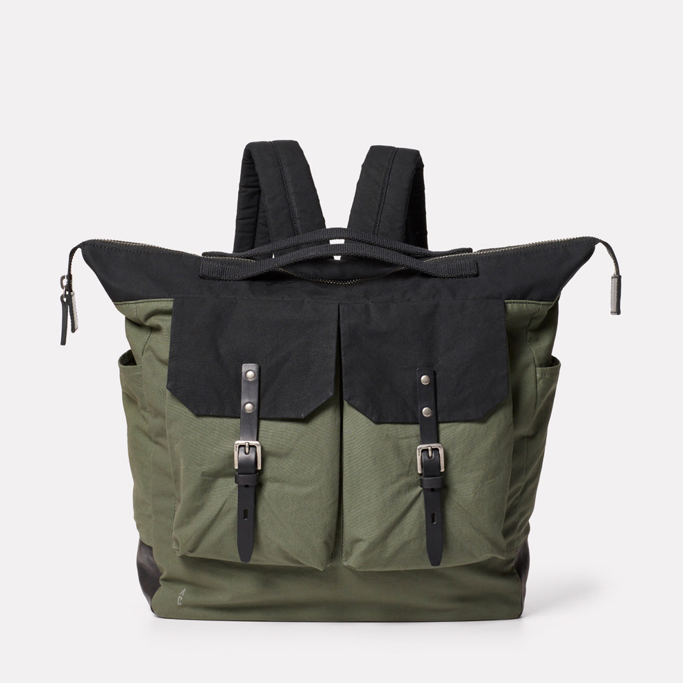 Frank Large Waxed Cotton Rucksack in Black and Olive