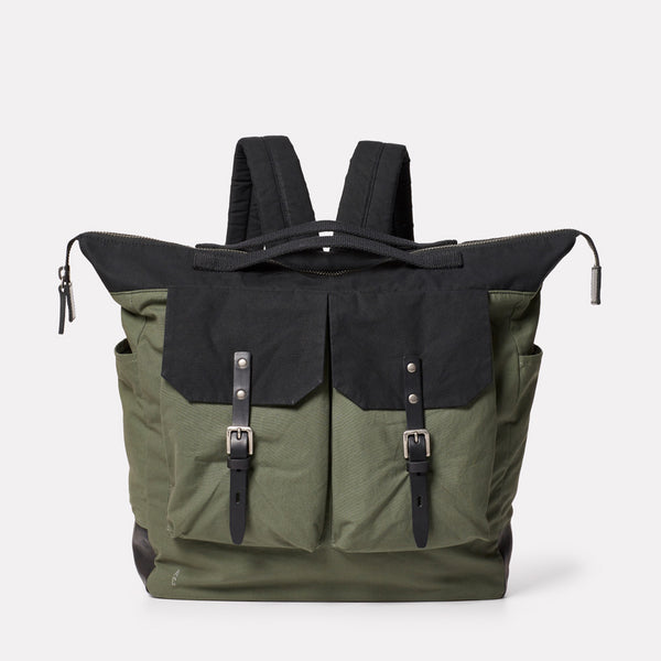 Frank Large Waxed Cotton Rucksack in Black and Olive-RUCKSACK-Ally Capellino-Ally Capellino