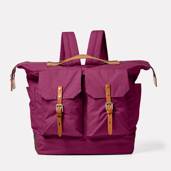 Frank Large Waxed Cotton Rucksack in Plum Front
