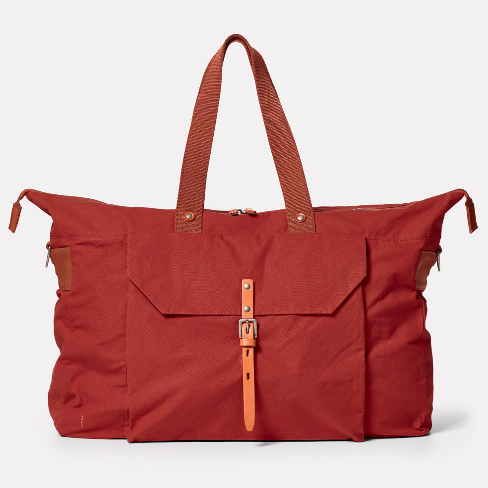 Freddie Waxed Cotton Holdall in Brick