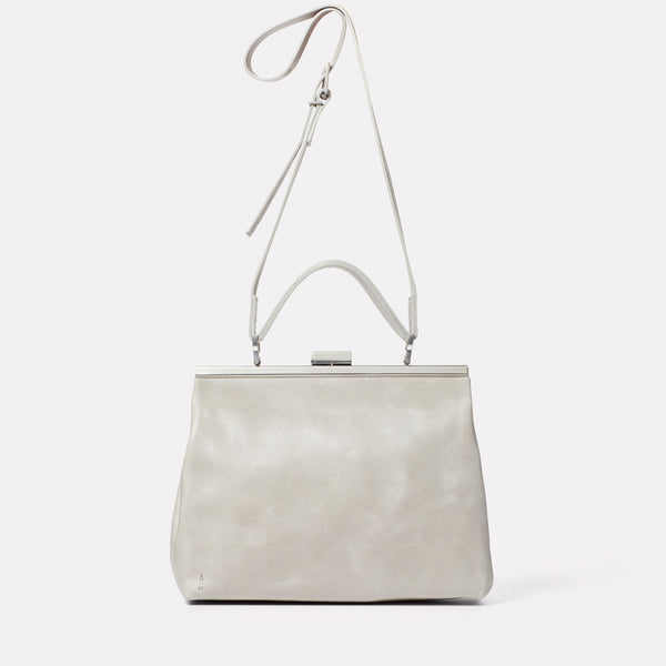 Frida Soft Frame Bag in Grey-LARGE FRAME-Ally Capellino-Ally Capellino-Grey-Grey Leather