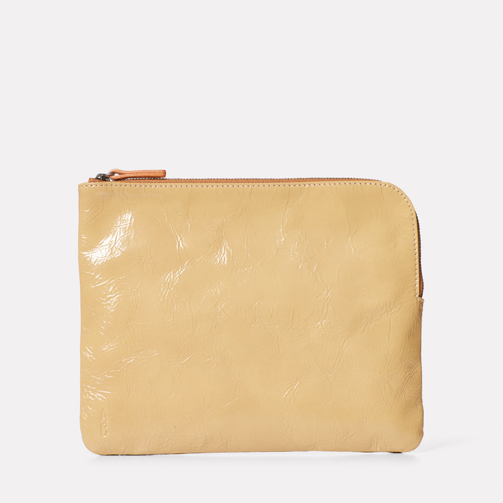 Hocker Large Leather Purse in Beige Gloss