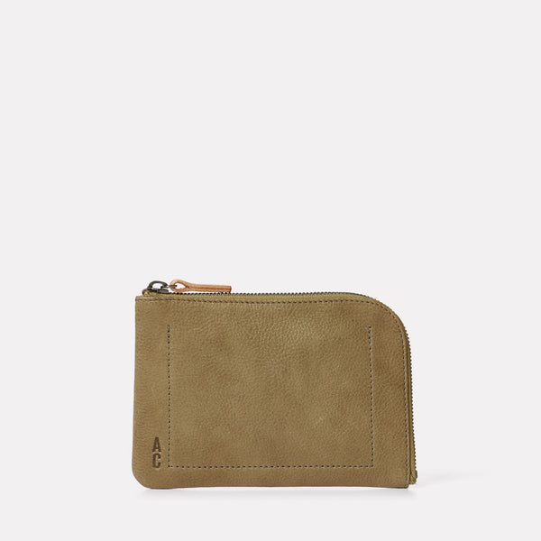Hocker Medium Leather Purse in Moss-MEDIUM POUCH-Ally Capellino-AW19-Leather-Moss-Green-Khaki