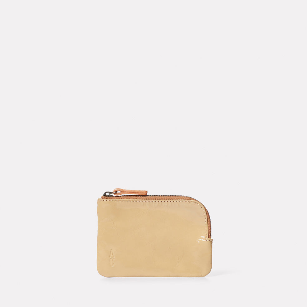 Hocker Small Leather Purse in Beige Gloss