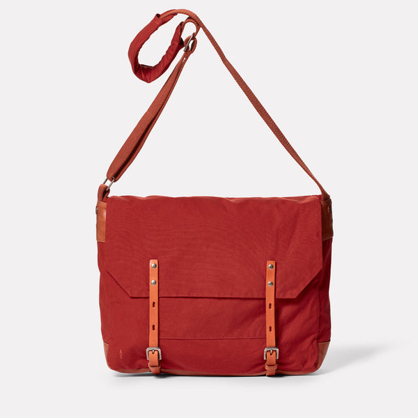Jeremy Waxed Cotton Satchel in Brick-MEDIUM SATCHEL-Ally Capellino-Ally Capellino