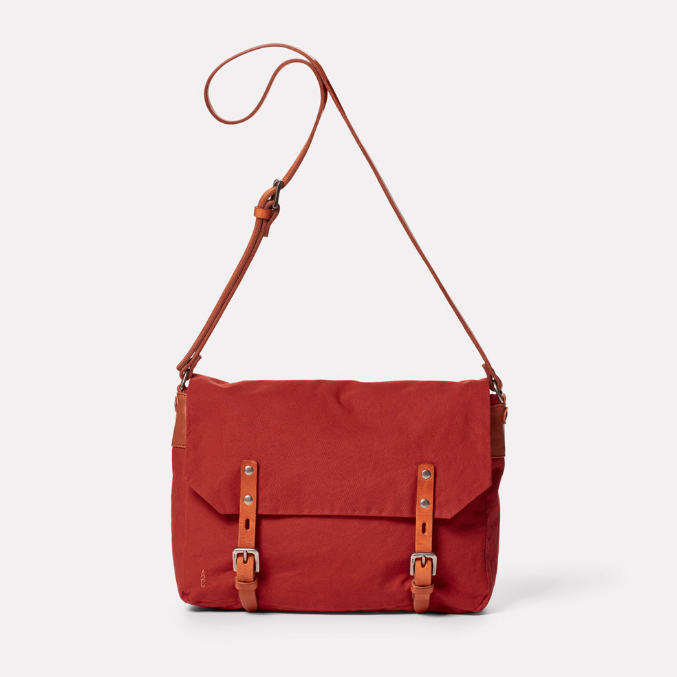 Jeremy Small Waxed Cotton Satchel in Brick