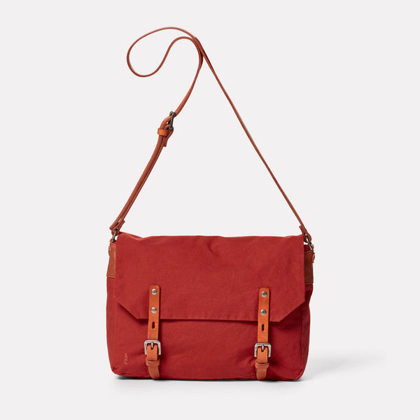 Jeremy Small Waxed Cotton Satchel in Brick-SMALL CROSS BODY-Ally Capellino-brick red-British waxed cotton-red