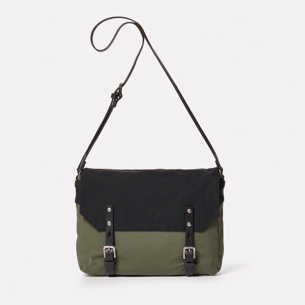 Jeremy Small Waxed Cotton Satchel in Black and Olive