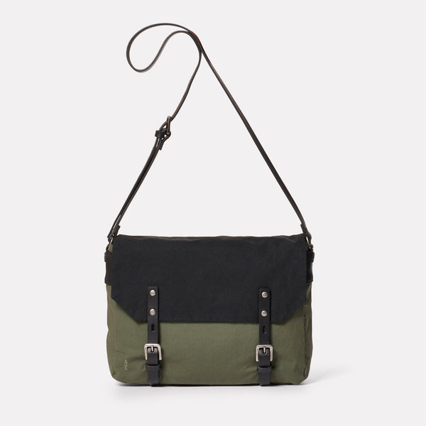 Jeremy Small Waxed Cotton Satchel in Black and Olive-SMALL CROSS BODY-Ally Capellino-Ally Capellino-Green-Olive-Waxed_Cotton