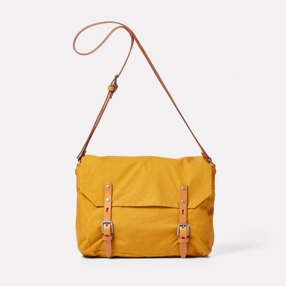 Jeremy Small Waxed Cotton Satchel in Cumin