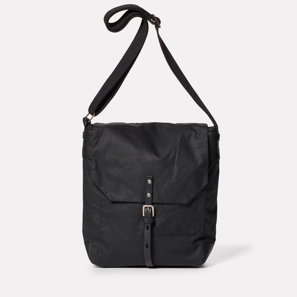 Jonny Waxed Cotton Satchel in Black-SATCHEL-Ally Capellino-Ally Capellino-Black-Waxed_Cotton