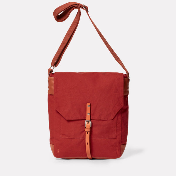 Jonny Waxed Cotton Satchel in Brick-SATCHEL-Ally Capellino-brick red-British waxed cotton-red