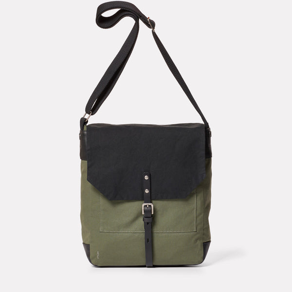 Jonny Waxed Cotton Satchel in Black and Olive-SATCHEL-Ally Capellino-Ally Capellino-Green-Olive-Waxed_Cotton