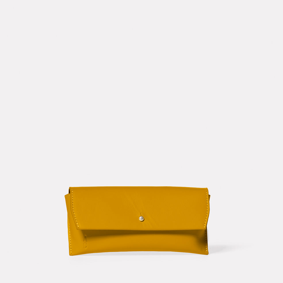 Kit Leather Glasses Case in Mustard