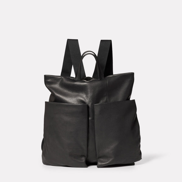 Lala Camlet Leather Convertible Backpack in Black-SMALL RUCKSACK-Ally Capellino-Ally Capellino-Black-Black Leather Bag