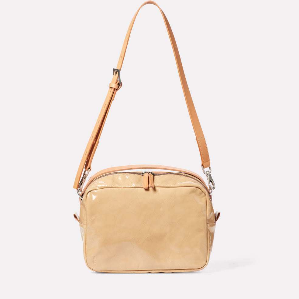 Leila Large Calvert Leather Crossbody Bag in Beige Gloss
