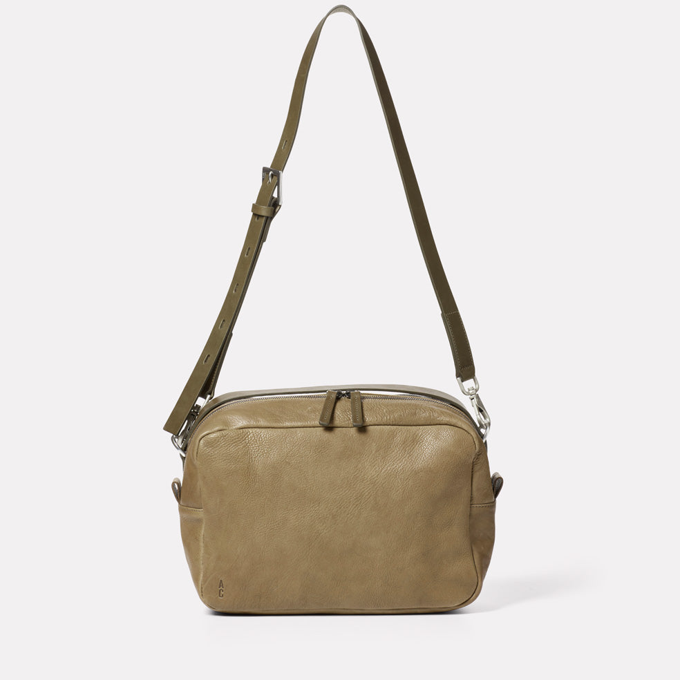 Leila Large Calvert Leather Crossbody Bag in Moss