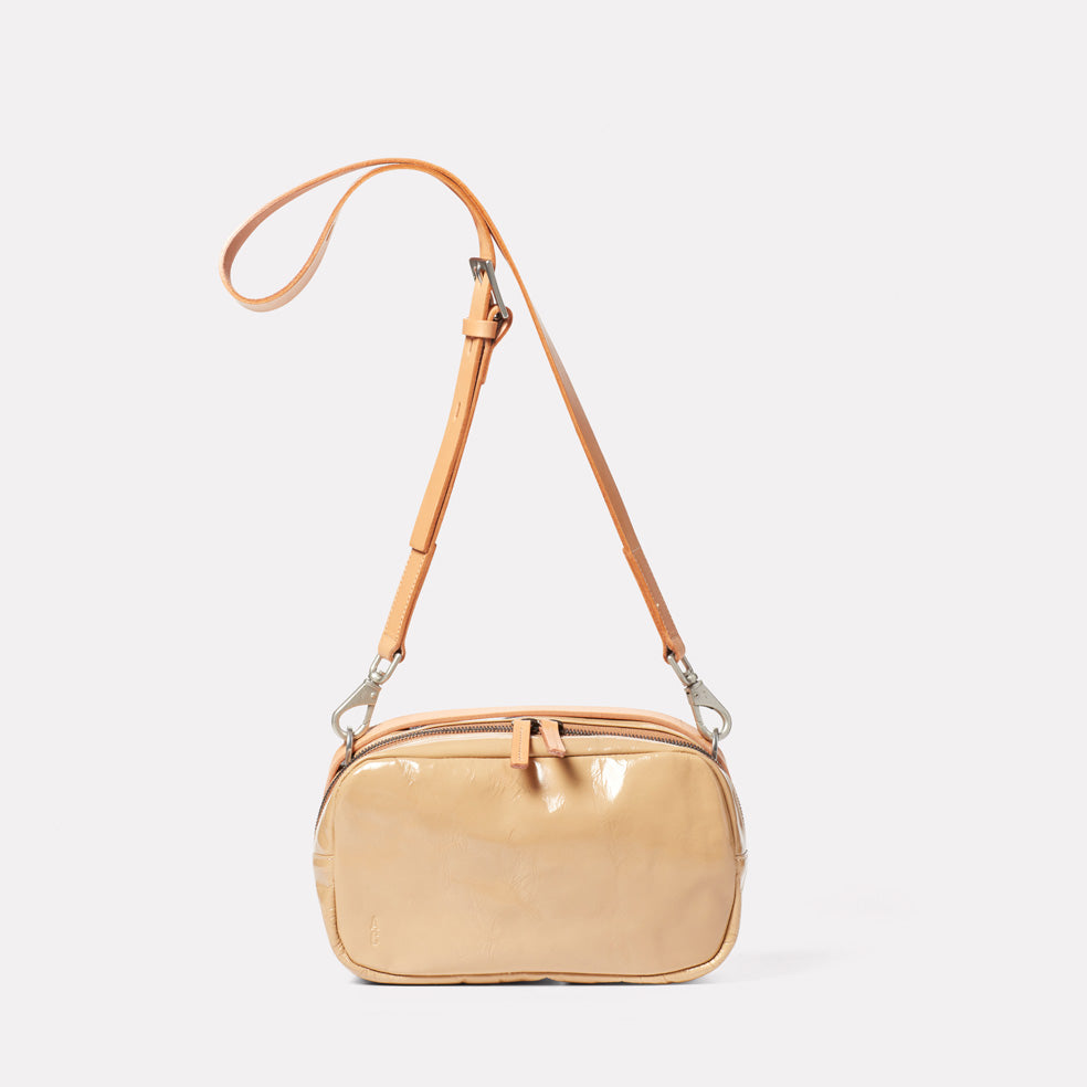 Leila Medium Calvert Leather Crossbody Bag in Beige Gloss