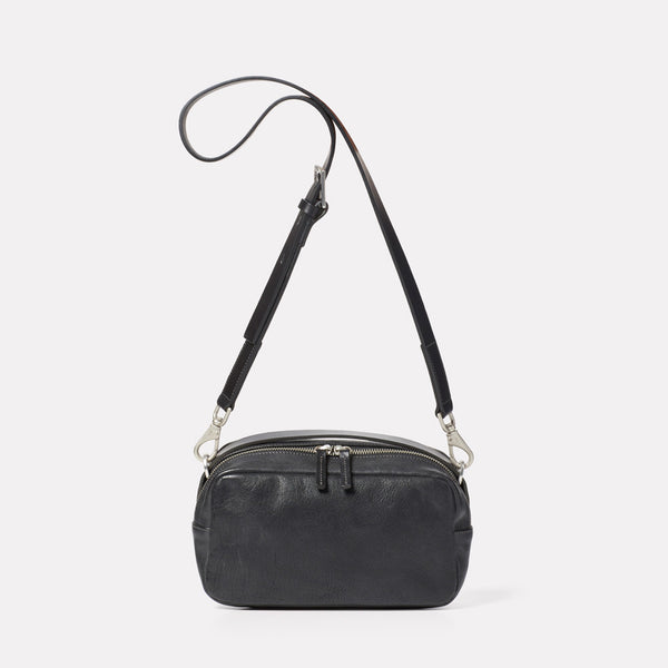 Leila Medium Calvert Leather Crossbody Bag in Black