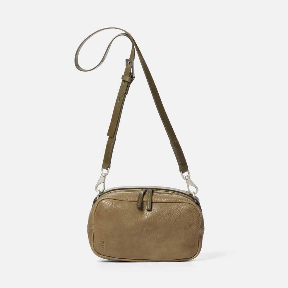 Leila Medium Calvert Leather Crossbody Bag in Moss
