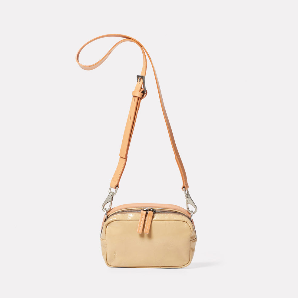 Leila Small Calvert Leather Crossbody Bag in Beige Gloss