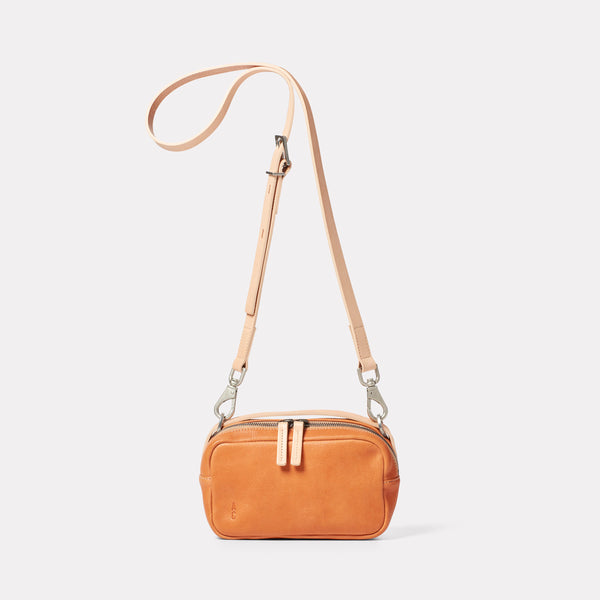 Leila Small Calvert Leather Crossbody Bag in Light Tan