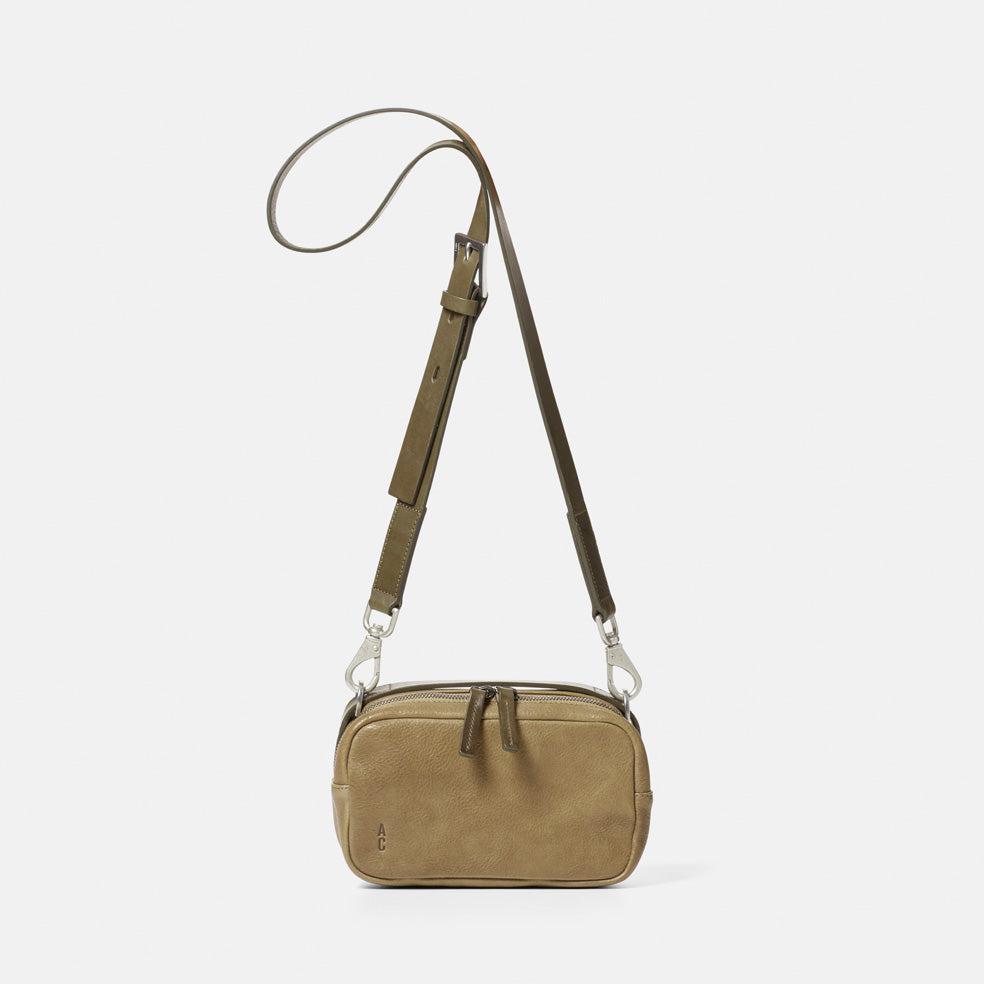 Leila Small Calvert Leather Crossbody Bag in Moss