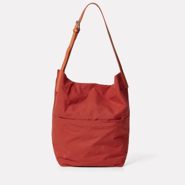 Lloyd Waxed Cotton Bucket Bag in Brick-BUCKET BAG-Ally Capellino-brick red-British waxed cotton-red