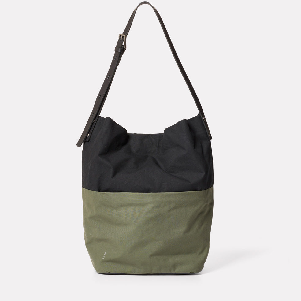 Lloyd Waxed Cotton Bucket Bag in Black and Olive