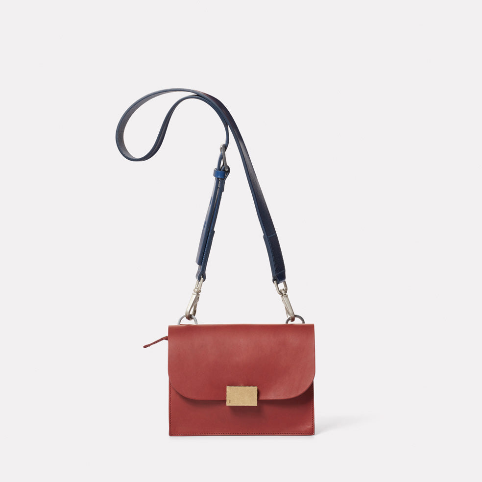 Lockie Boundary Leather Crossbody Lock Bag in Oxblood