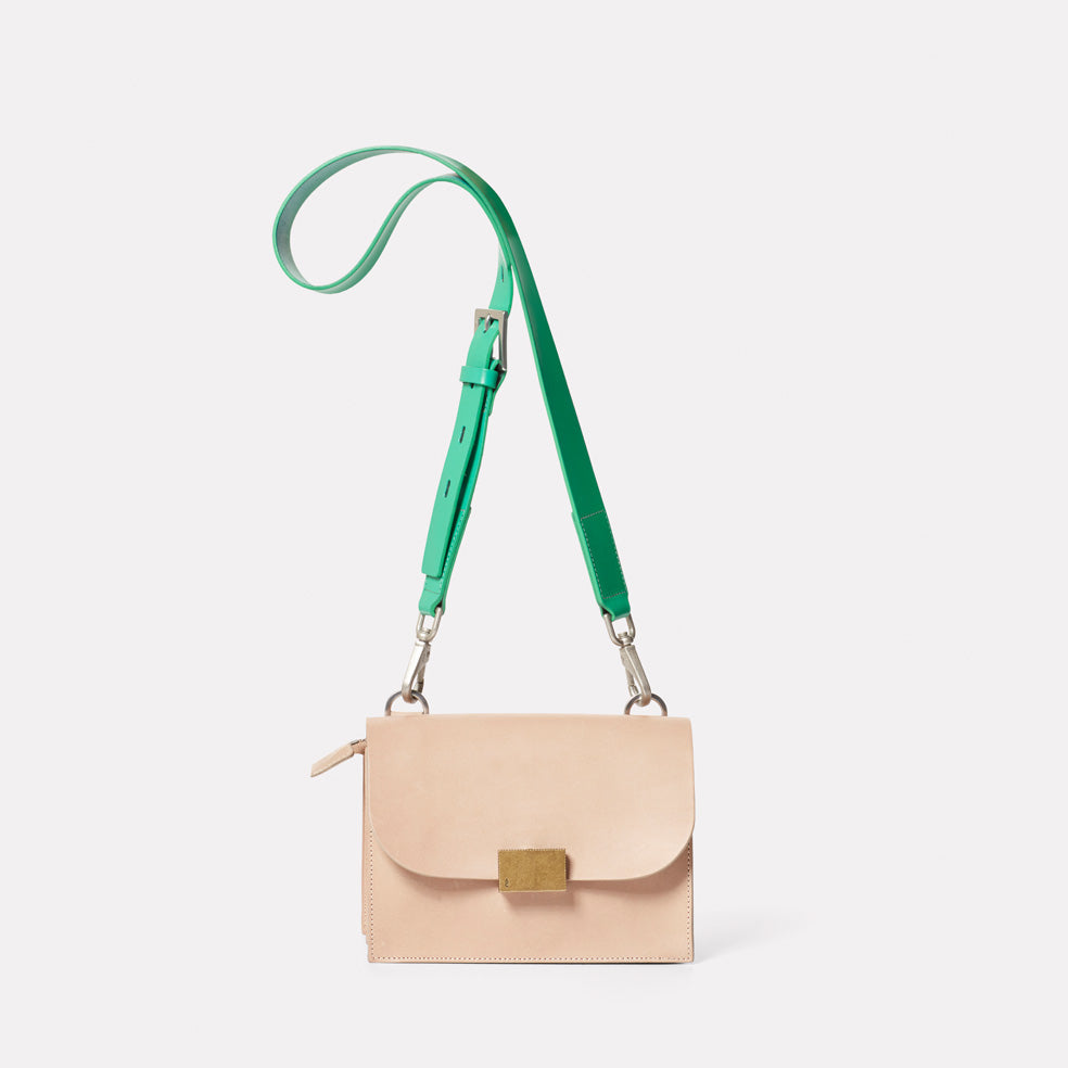 Lockie Boundary Leather Crossbody Lock Bag in Taupe