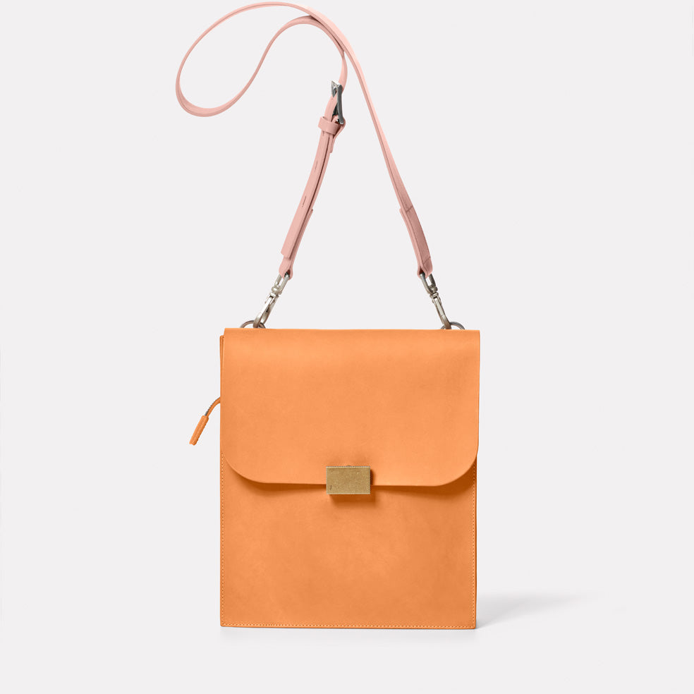 Lori Boundary Leather Crossbody Lock Bag in Apricot