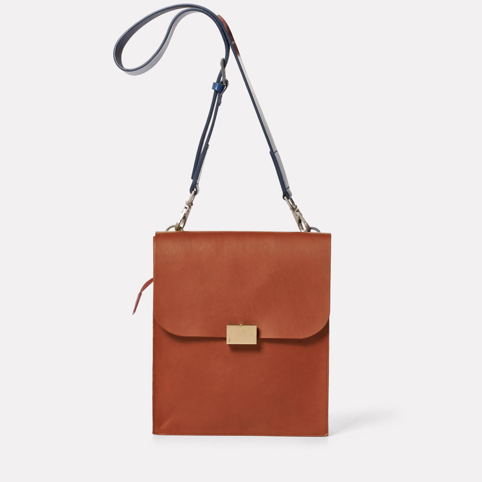 Lori Boundary Leather Crossbody Lock Bag in Oxblood