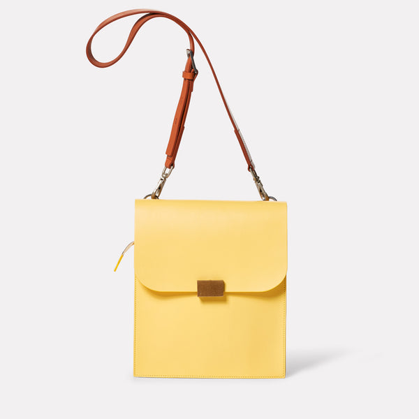 Lori Boundary Leather Crossbody Lock Bag in Yellow-PORTRAIT BAG-Ally Capellino-Yellow-Lemon-Leather-Crossbody