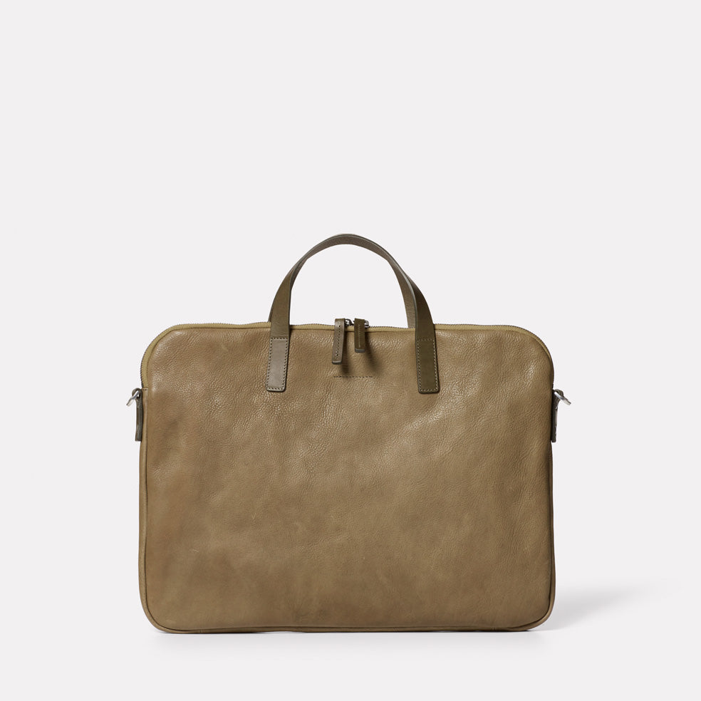 Marcus Calvert Leather Folio Bag in Moss