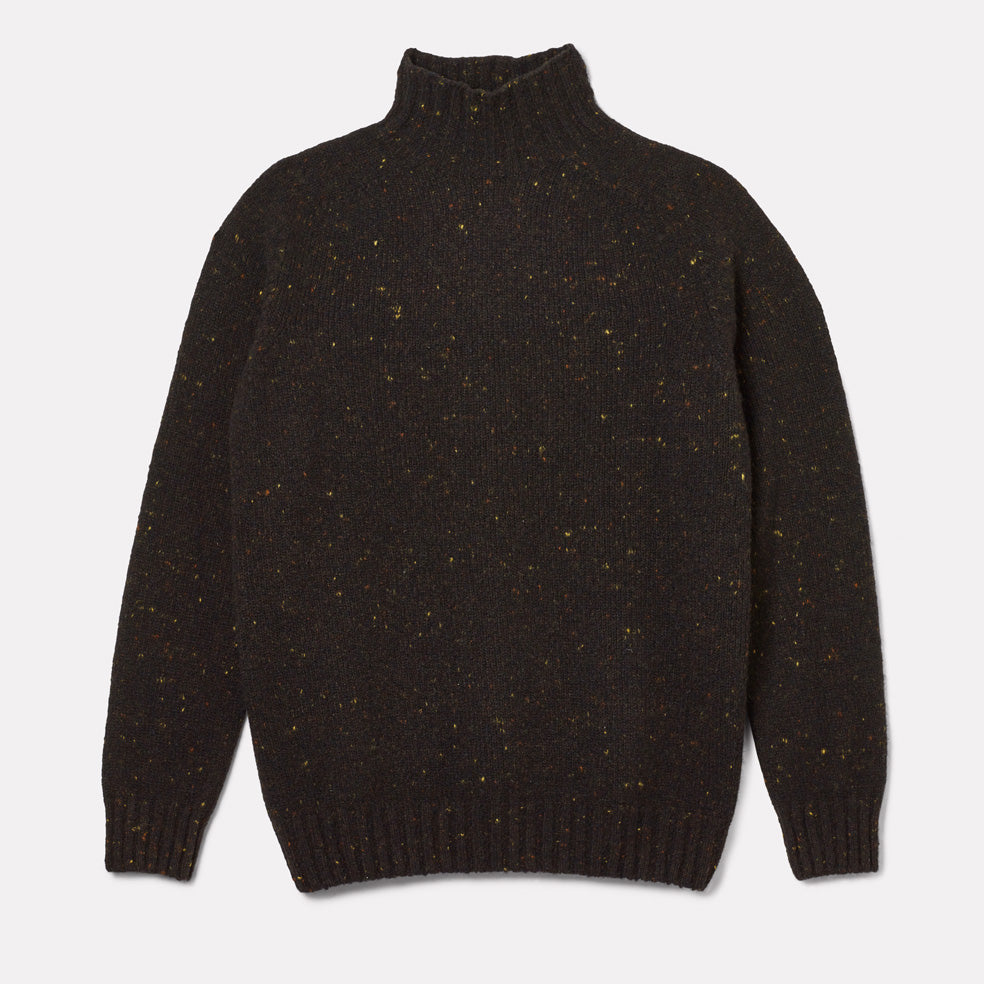 Mens Cashmere and Merino Knit Turtleneck in Dark Grey