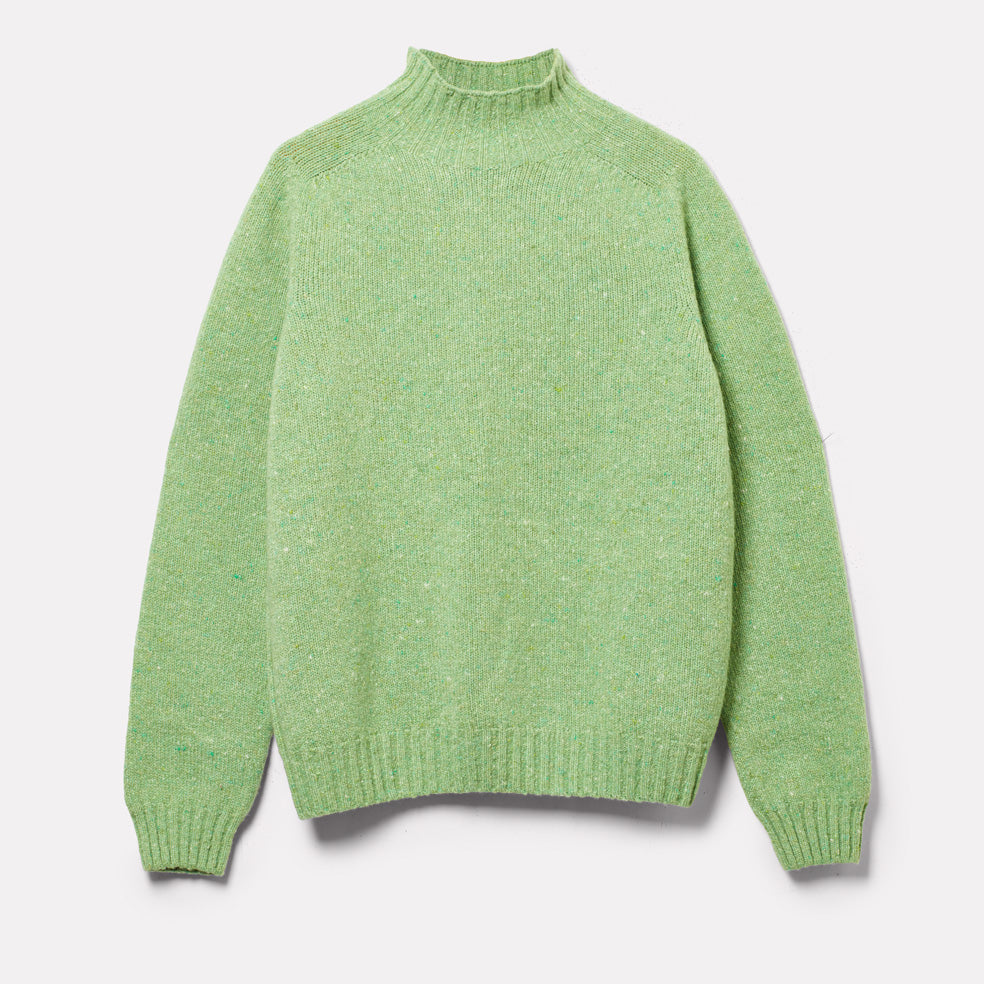 Mens Cashmere and Merino Knit Turtleneck in Green